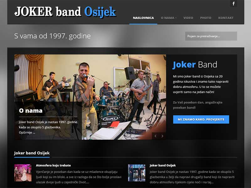 Wordpress, wordpress web stranica, joker band osijek, web stranica za band