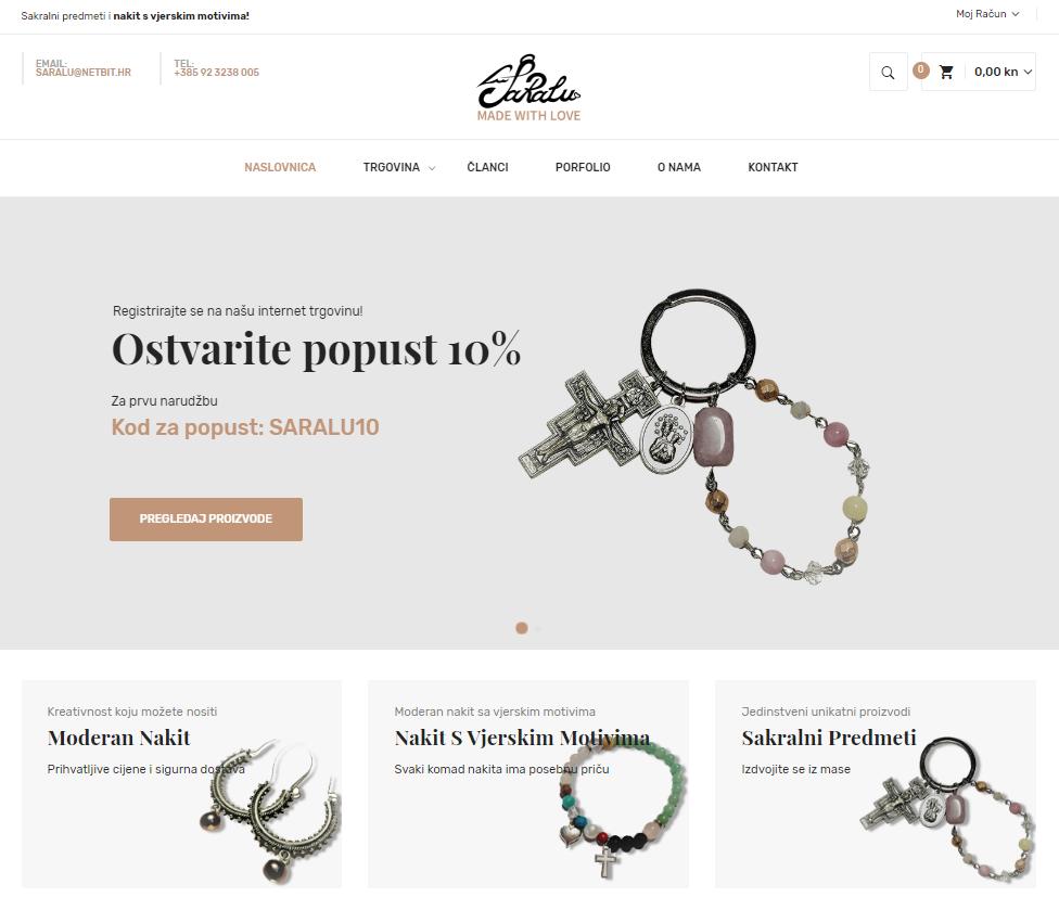 Web shop Saralu, unikatni nakit, vjerski nakit, krunice, privjesci, sakralni predmeti i nakit